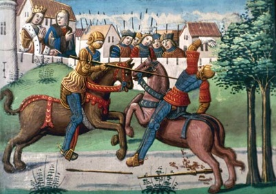 Knights in the middle ages jousting